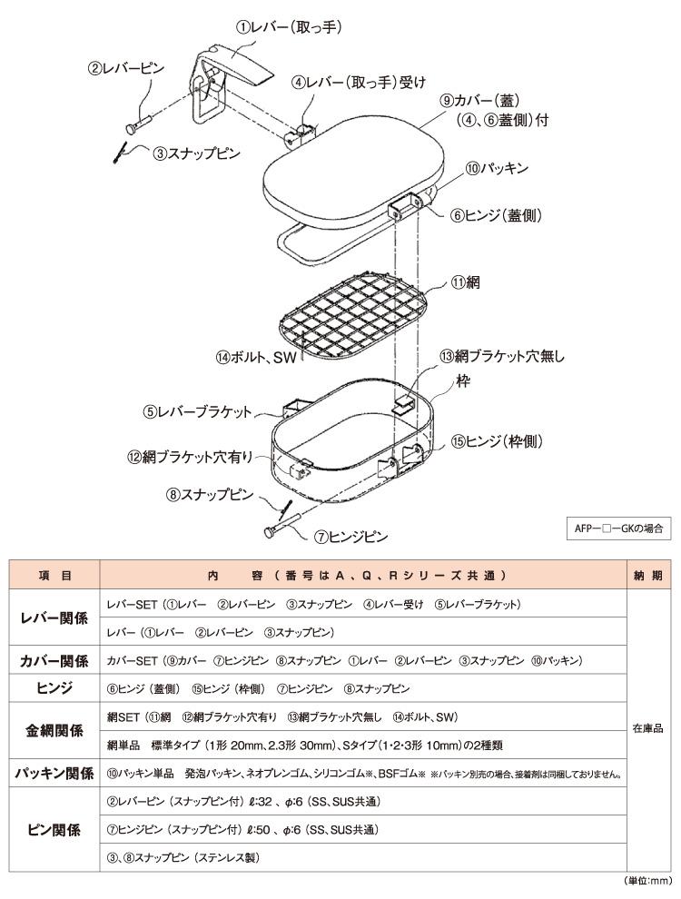 ASAHIの点検窓「FREEPA」構成部品表